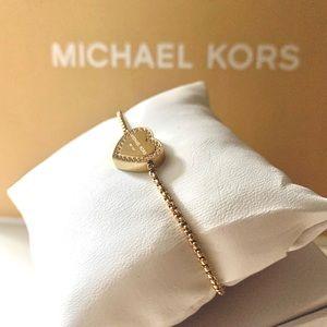 NWT authentic MK gold tone heart slider bracelet